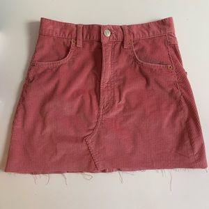 Zara Pink Corduroy Mini Skirt